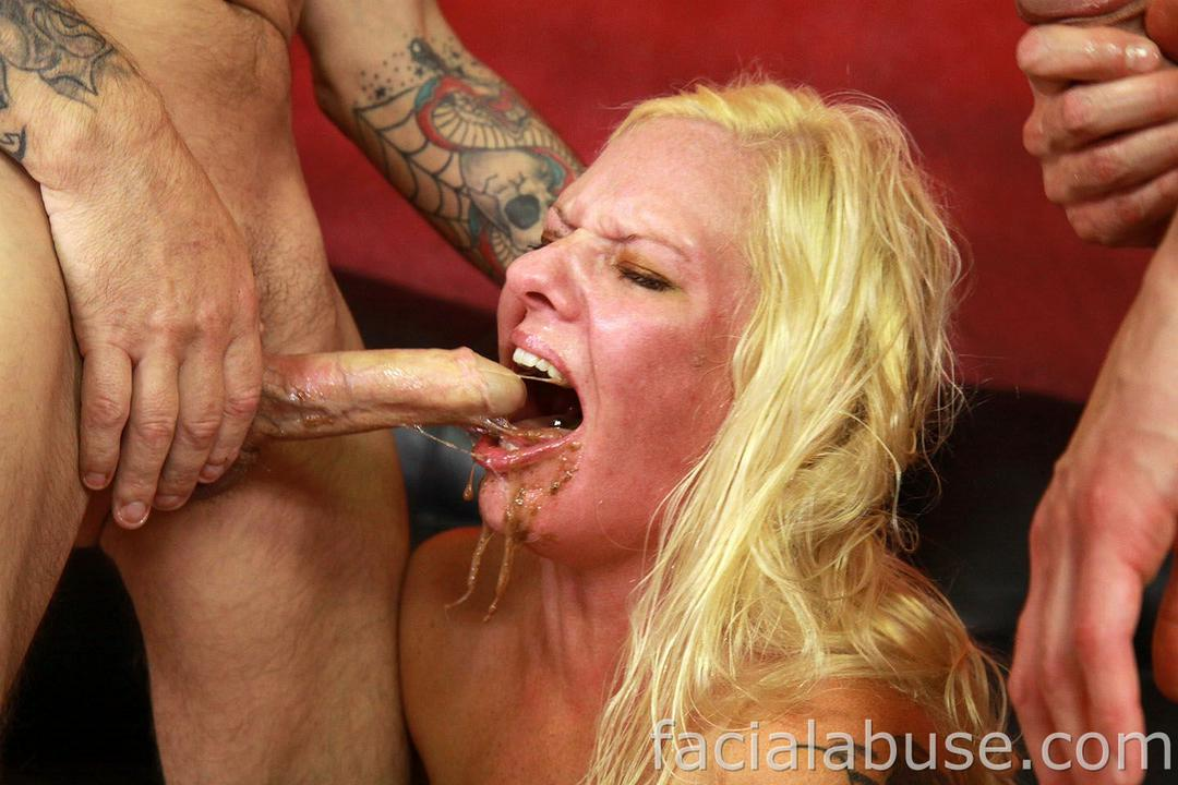 Possible Blonde deepthroat gag right!