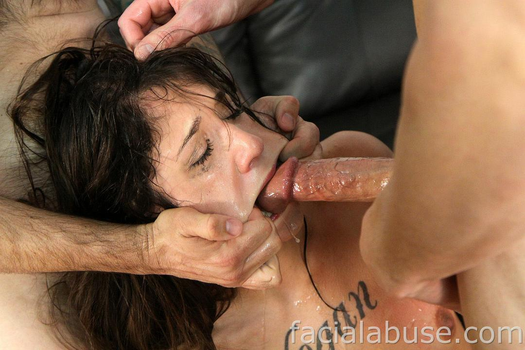 Throat fucking cum gag