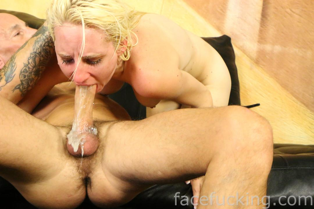 Blonde Slut Throat Fuck